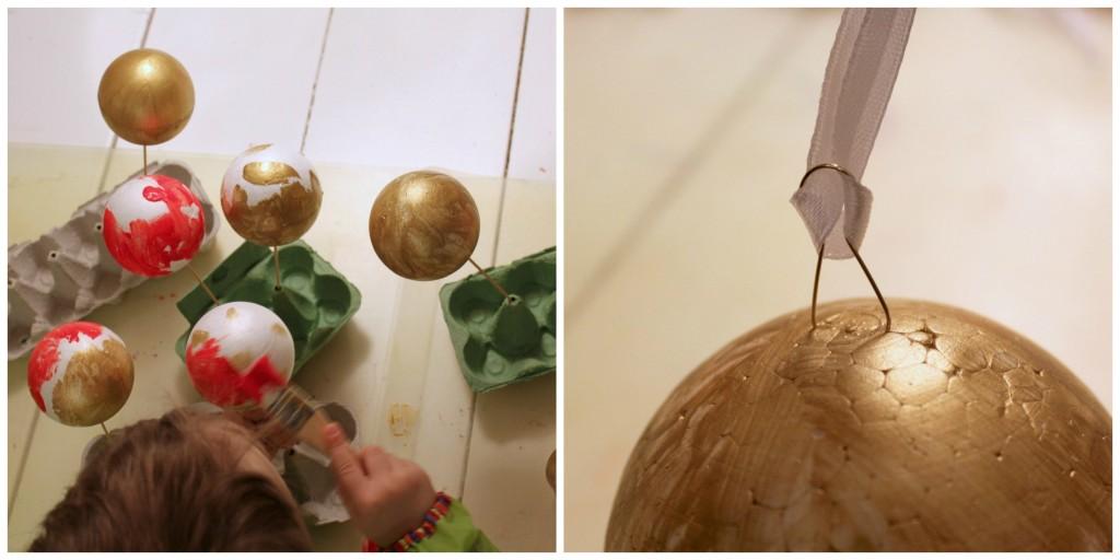 DIY-joulupallojen valmistusta