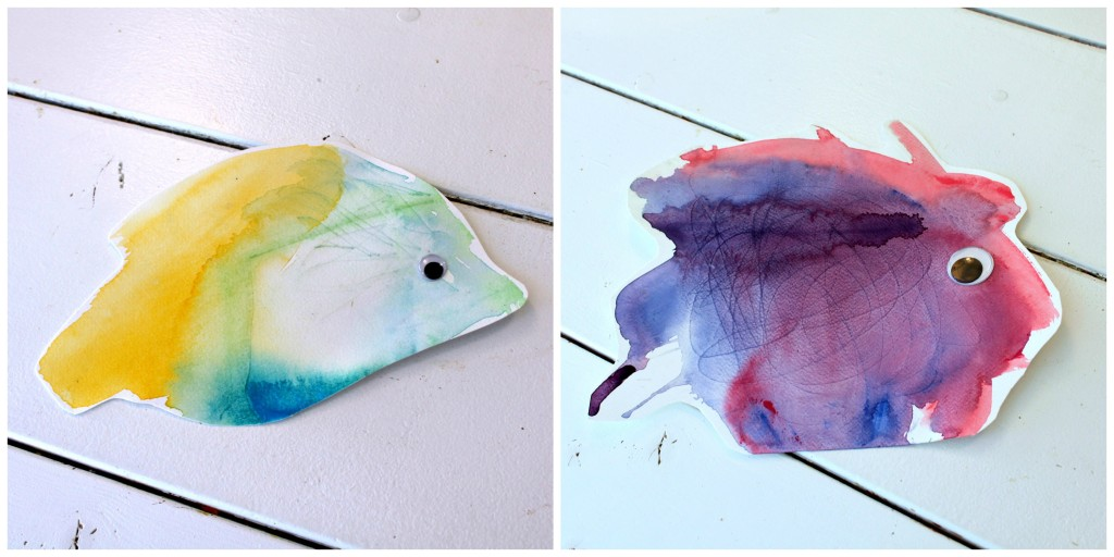 Pienten poikien maalaamia kaloja