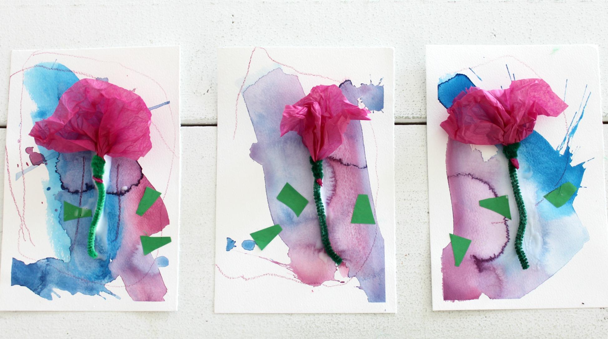 Kukkakortit kerhotädeille