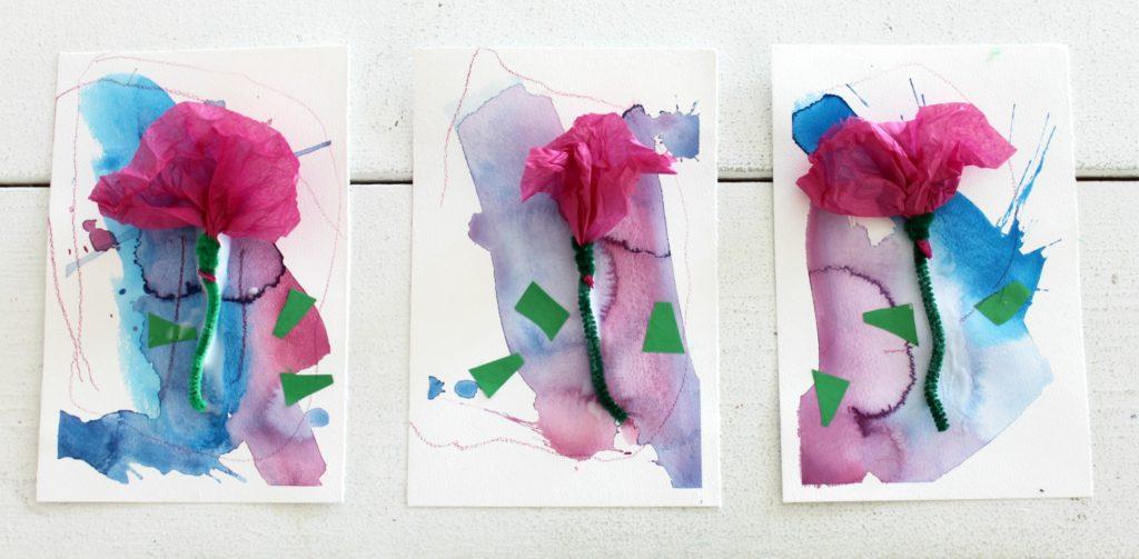 Kukkakortteja kerhotädeille