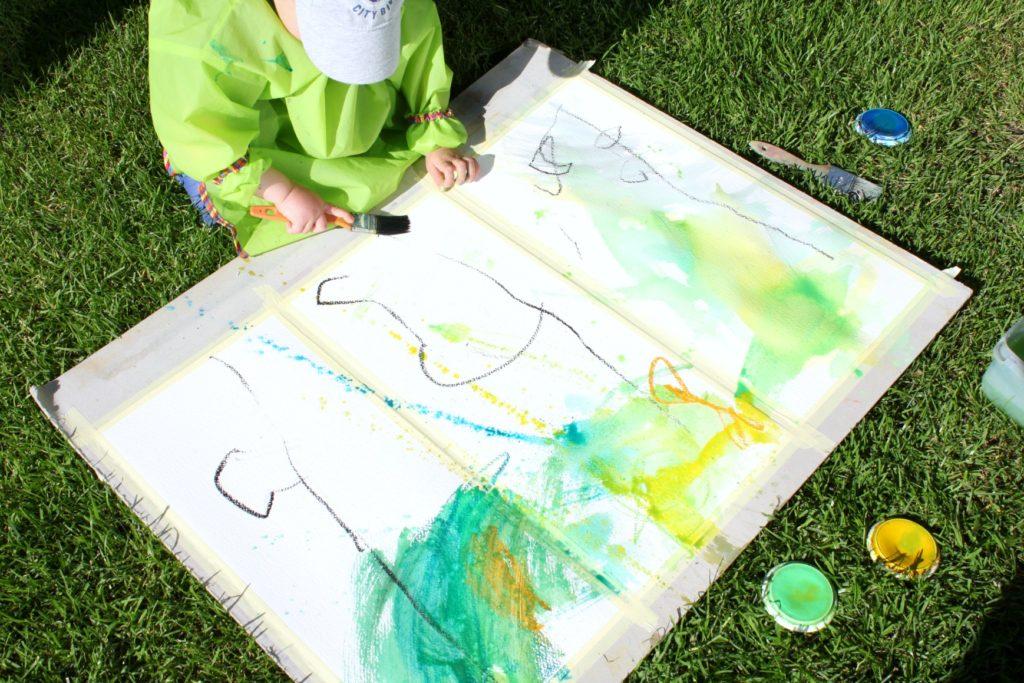 Juhannuskoivujen maalausta vesiväreillä