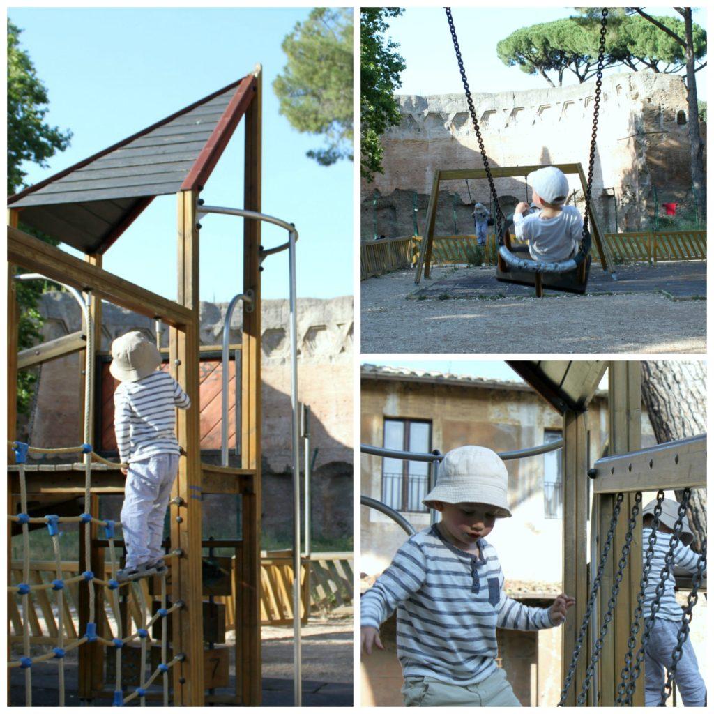 Leikkipaikka Parco del Colle Oppio -puistossa Roomassa