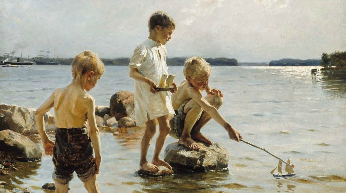 Albert Edelfelt: Leikkiviä poikia rannalla (1884), Ateneum