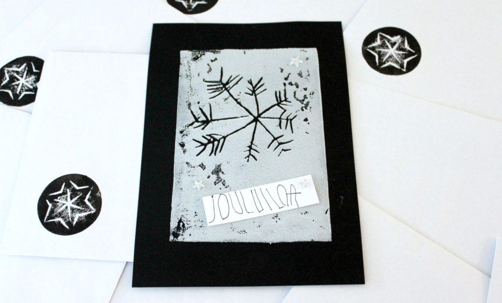Joulukortit linopainannalla