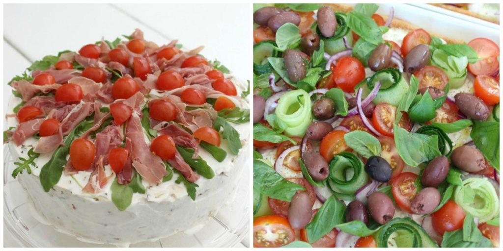 Kahvipöytätarjoiluja / voileipäkakku ja salaattipiirakka
