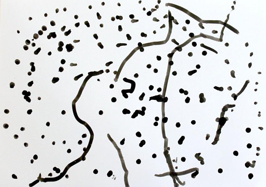 Vanupuikko ja muste maalausvälineinä