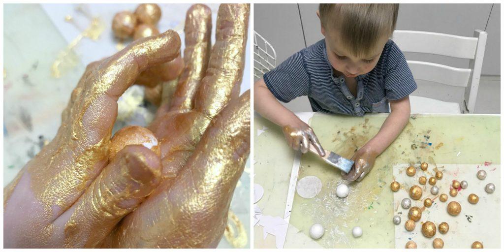 Myrkytön kultamaali / jouluaskartelua lasten kanssa