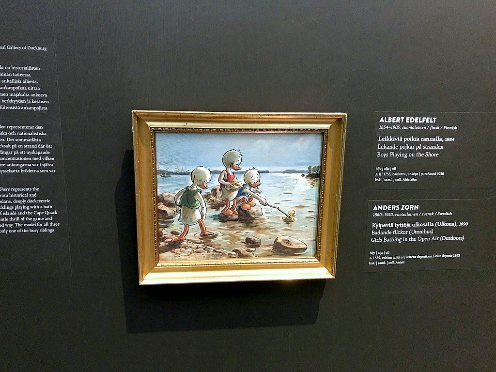 Ankallisgelleria/ Akseli Kala-Kallela: Leikkiviä ankanpoikia rannalla