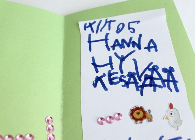 Kiitoskortti päiväkodin aikuisille