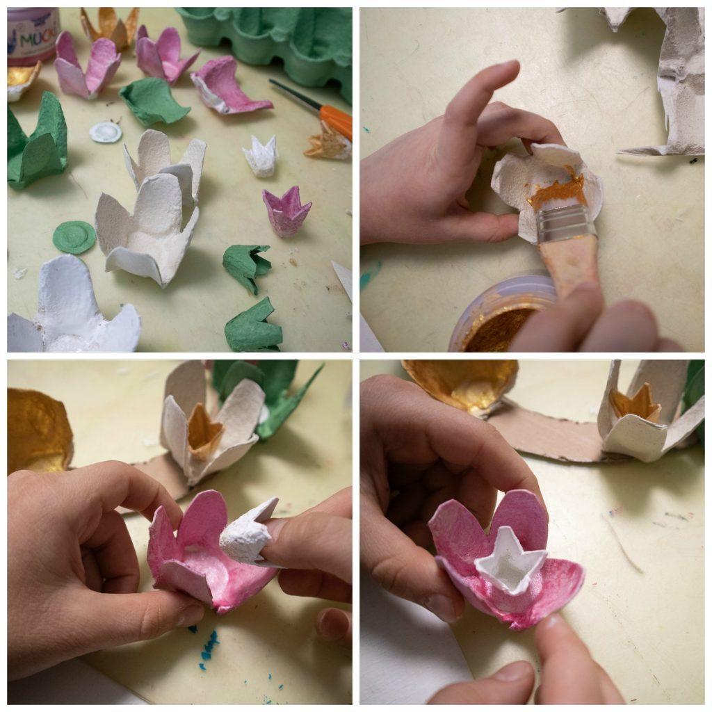 Pääsiäisaskartelu / kukkakranssi kananmunakennoista